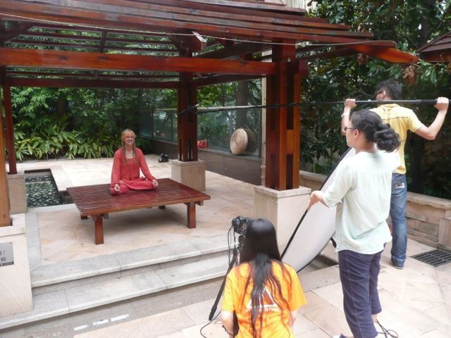 Yogini Kaliji, founder of TriYoga, gives interview to TV stations in China