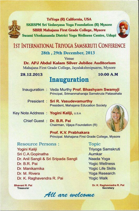 First International TriYoga Conference 2013