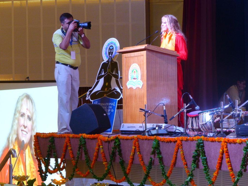 Yogini Kaliji delivers presentation
