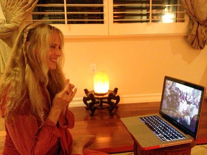 Yogini Kaliji in Skype with Siberia Celebrating TriYoga 20