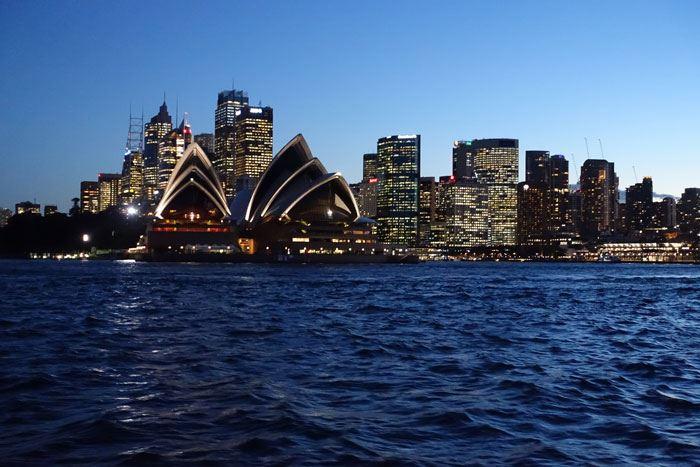 Sydney at night from boat