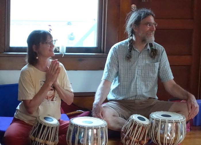 Jill and Scott playing tabla